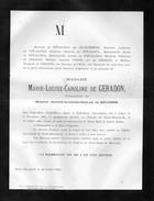 Marie De Geradon Douairiere De Beughem °1801 Liège +1883 Château De Neder Over Heembeek Lippelo De Penaranda Franchimont - Obituary Notices