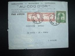 LETTRE PAR AVION Pour LA SUISSE TP CONGO BELGE 5F X2 + TP 50c OBL.28-3-46? LEOPLODVILLE + AU COQ D'OR HORLOGERIE BIJOUX - Postzegels