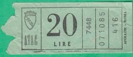 Ticket D´entrée - ATAC - Apollon - Roma - 20 Lire - Tickets - Vouchers