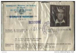 Consulat General D'Espagne ( Certificado De Nacionalitad 1970 ) De José-Maria Basabe Colon-Viscaye-de Casado A Courbevoi - Autres