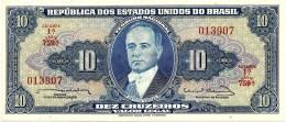 BRASIL - 10 CRUZEIROS - ND ( 1963 ) - P 167.b - Sign. 12 - Serie 759.ª - Estampa 1A - Getulio Vargas - Brésil
