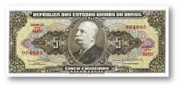 BRASIL - 5 CRUZEIROS - ND ( 1964 ) - P 176.d - UNC. - Sign. 14 - Serie 4498.ª - Estampa 2A - Barão Do Rio Branco - Brésil