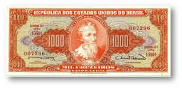 BRASIL - 1000 CRUZEIROS - ND (1963 ) - P 181 - Sign. 12 - Serie 1589.ª - Estampa 2A - Pedro Alvares Cabral - Brasile
