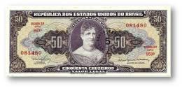 BRASIL - 5 CENTAVOS On 50 CRUZEIROS ND ( 1966 ) P 184.a ERROR Sign. 15 Serie 959.ª Estampa 2A Princesa Isabel - Brasile