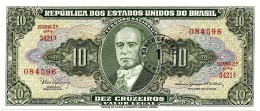 BRASIL - 1 CENTAVO On 10 CRUZEIROS ND (1967 ) - P 183.b - UNC. - Sign. 15 - Serie 3421.ª - Estampa 2A - Getulio Var - Brésil