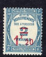 France Taxe N° 64 X  Timbre Surchargé : 1 F. 20 Sur 2 F. Bleu,  Trace De  Charnière Sinon TB - Taxes
