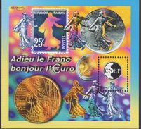 BLOC CNEP 2002 - ADIEU LE FRANC, BONJOUR L'EURO - COTE 13,00€ BL84 - Sheetlets