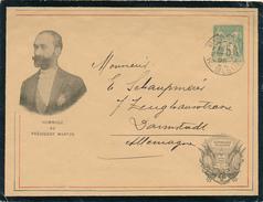 PARIS - 1895 , Envelope Mit 5 Cent. Type Sage  - Hommage Au President Martyr  Nach Darmstadt - 1876-1898 Sage (Type II)
