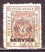 India-Bhopal State 1 Anna Over Printed On 2 Annas Court Fee/Revenue Type 07  #DF530 - Bhopal
