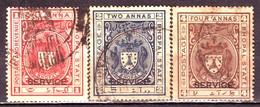 India-Bhopal State 3 Diff. 1 Anna, 2 Annas & 4 Annas 1930 Issue Ovpt Service Court Fee/Revenue #DF539 - Bhopal