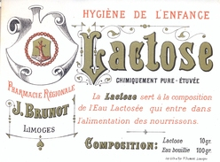 1 Etiquette Ancienne De Pharmacie - LACTOSE HYGIENE DE L'ENFANCE - PHARMACIE REGIONALE J.BRUNOT - LIMOGES - Labels