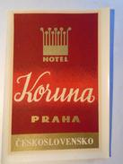 D145703 Luggage Label - Etiquette Valise - Hotel  KORUNA   PRAHA  -  Czechoslovakia Ca 1960 - Hotel Labels
