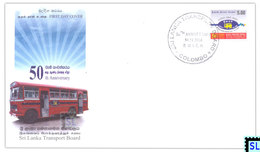 Sri Lanka Stamps 2008, Transport Board, Bus, Automobile, Vehicl, FDC - Sri Lanka (Ceylon) (1948-...)
