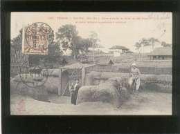 Timbre Half Cent Chinese Imperial Post  Surchargé Cachet Tientsin , Sur Carte Postale Tonkin Yan Thé Cho Go - Covers & Documents