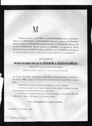Alphonse De Beughem De Neder Over Heembeek +1882 77ans Bruxelles Lippelo Sint Amands De Geradon Ottignies - Obituary Notices