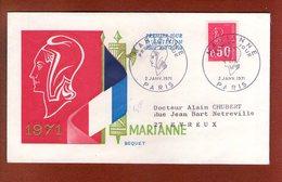 1 Enveloppe    - Premier Jour -   Marianne Paris 1971 - FDC