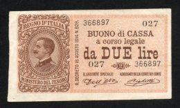 Italia Buono Di Cassa Da 2 Lire 1914 (Dell'Ara, Righetti) SPL - [ 1] …-1946 : Royaume