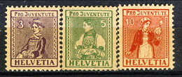 Svizzera Pro Juventute 1917 Serie N. 154-156 MLH Cat. € 60 - Nuovi