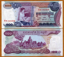 Cambodia Cambodge Kampuchea 100 Riels UNC Banknotes 1974 - Cambodia