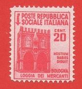 1944-45 (504) Monumenti Distrutti 2a Emissione . Senza Filigrana C. 20 SENZA GOMMA - 4. 1944-45 Repubblica Sociale