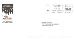 CACHET OBLITERATION FLAMME EMA   VIC FEZENSAC   SUR ENVELOPPE 22X11 PENTECOTE FERIA DEL TORO CLUB TAURIN VICOIS - Marcophilie (Lettres)