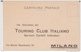 TOURING CLUB ITALIANO - CARTOLINA PER RICHIESTA SERVIZIO CARTELLI INDICATORI STORIA - Postcards