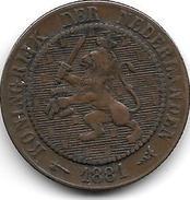 Netherlands 2,5 Cents 1881 Km 108   Vf - [ 3] 1815-… : Royaume Des Pays-Bas