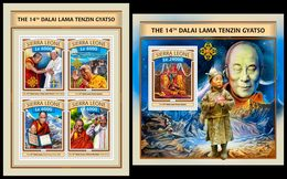 SIERRA LEONE 2016 - Dalai Lama, M/S + S/S. Official Issue. - Buddismo