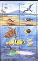 LIBERIA  1618  MINT NEVER HINGED SOUVENIR SHEET OF FISH-MARINE LIFE  ( M  0017 - Vissen