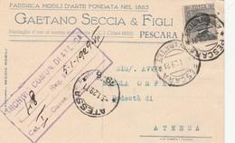 5754.   Gaetano Seccia & Figli - Fabbrica Mobili D'Arte - Pescara - Commerciale - 1929 Per Podestà Atessa Chieti - Commercio