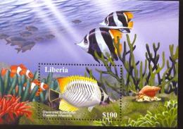 LIBERIA  2033  MINT NEVER HINGED SOUVENIR SHEET OF FISH-MARINE LIFE   ( 0225 - Fishes
