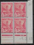 1945 - 49   Tunisie  N° 293A  (bloc De 4 ) Coin Daté      Nf**  MNH . Mosquée Halfaouine à Tunis. - Tunisie (1888-1955)