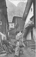 ST.NIKLAUS → Quartierstrasse Bauer Mit Rückenkorb & Karren, Ca.1915   ►RRR◄ - VS Valais