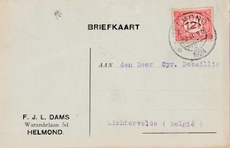 Briefkaart Van HELMOND => LICHTERVEDE   Met Nr  Yv 104 ( NVPH 108 )  ( 1924 ) - 1891-1948 (Wilhelmine)