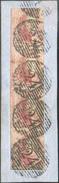 N°5(4) - Médaillons 40 Centimes Carmin-rose En Bande De Quatre Verticale, Sur Petit Fragment, Margée Sur 3 Côtés Avec G - 1849-1850 Médaillons (3/5)