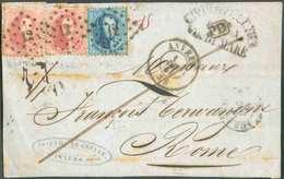 N°15-16(2) - Médaillons 20 Centimes Bleu Et 40 Centimes Carmin-rose (x2) Obl. LP.12 Sur Devant D'ANVERS Le 1 Déc. 1864 + - 1863-1864 Medallions (13/16)