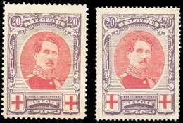 N°134/134A - ALBERT CROIX-ROUGE, Les 2 Dentelures (134A X Et 134 Xx). COB. 265 Euros. - TB - 11572 - 1918 Croix-Rouge