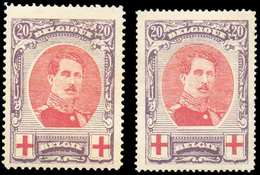 N°134/134A - ALBERT CROIX-ROUGE, Les 2 Dentelures (134A X Et 134 Xx). COB. 265 Euros. - TB - 11572 - 1918 Rotes Kreuz