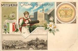 CHOCOLAT SUCHARD - RARE CPA CHROMO PRECURSEUR ILLUSTRE - ANNEES 1890 - SOUVENIR - NEUCHATEL - SUISSE - Suchard