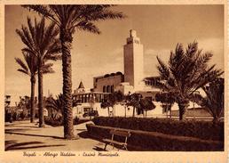 """05273 """"TRIPOLI - ALBERGO UADDAN - CASINO' MUNICIPALE"""" ANIMATA, AUTO '30,  FOTO 1937. CART  SPED 1979 - Libia"""