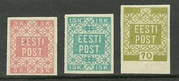 ESTONIA Estonie 1918/1919 Michel 1 - 2 & 4 MNH - Estland