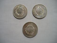 3 Pièces 50 Francs Hercule 1975-1977-1979 - France