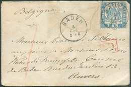 BADE N°25 - 7Kr. Bleu Obl. Sc BADEN Sur Enveloppe Du 5 Août 1870 Vers Anvers (Belgien). R. - B/TB - 11581 - Baden