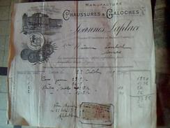 Facture Chaussures Et Galoches Joannes Laplace A Lyon Annee 1919 Fiscal De 10 Ct Facturette - Textile & Vestimentaire