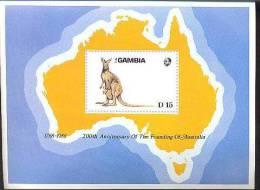 GAMBIA  747 ; MINT NEVER HINGED SOUVENIR SHEET OF ANIMALS ; KANGAROO ; AUSTRALIA - Unclassified