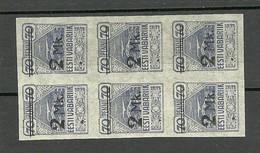 ESTLAND ESTONIA Estonie 1920 Michel 20 In 6-Block MNH - Estland