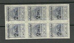 ESTLAND ESTONIA Estonie 1920 Michel 20 In 6-Block MNH - Estonia
