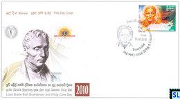 Sri Lanka Stamps 2010, Louis Braille, White Cane Day, FDC - Sri Lanka (Ceylon) (1948-...)