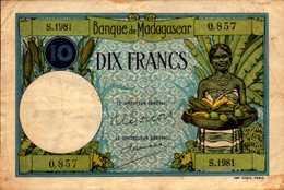 MADAGASCAR Banque De Madagascar 10 FRANCS De 1937/47nd  Pick 36 - Madagascar