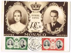 Carte Maximum Du Mariage Du Prince Rainier Et De Grace Kelly 19/04/1956 - Cartas Máxima
